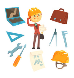 Professional builder and architect and his tools vector