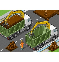 Isometric Containers Trucks with Arm vector image