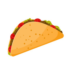 Traditional mexican food is taco cartoon image of vector