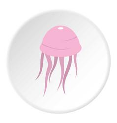 Pink jellyfish icon circle vector