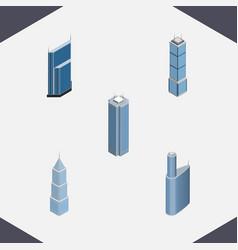 isometric construction set of building skyscraper vector image