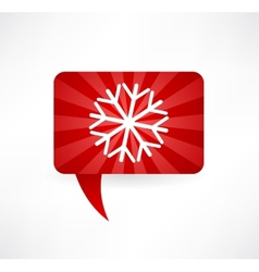Flat speech bubble icon with a snowflake vector
