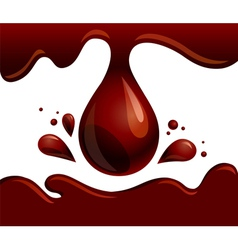 Chocolate drop flowing brown syrup vector