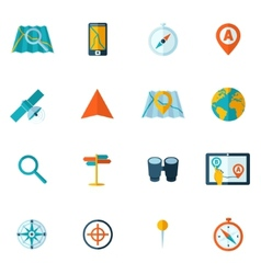 Navigation icon flat set vector