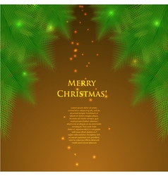 Christmas card with spruce branchesillumination vector
