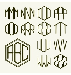 Set 2 template letters to create a monogram vector image