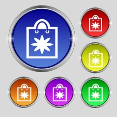 Shopping bag icon sign round symbol on bright vector