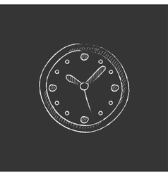 Wall clock drawn in chalk icon vector