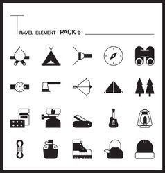 Travel element line icon set 6camping thin icons vector