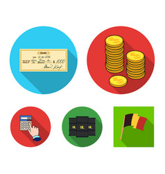 A stack of coins a bank check a calculator vector