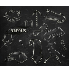 Arrow stylized drawing in chalk on the blackboard vector image vector image