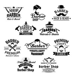 Barber shop beard mustaches scissors icons vector