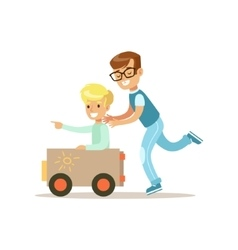 Boy And His Dad Playing Toy Car Traditional Male vector image vector image