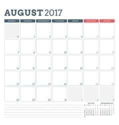 Calendar planner template for august 2017 week vector