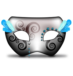 Carnival mask with ice blue feathers vector