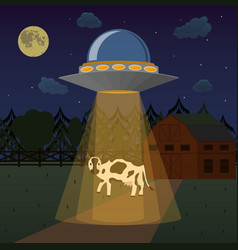 Cartoon aliens spaceship or ufo takes cow vector