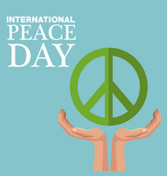 color poster peace symbol floating over a hands vector image