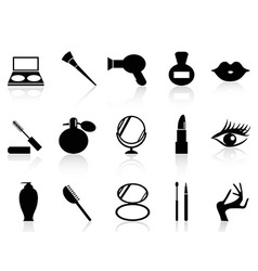 cosmetics and makeup icons set vector image