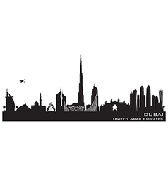 Dubai uae skyline detailed silhouette vector