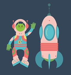 Friendly alien and rocket vector image