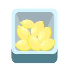 Lemons in tray isolated on white citron lime vector