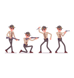 male sheriff and weapons vector image vector image