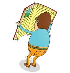 Man reading big book vector