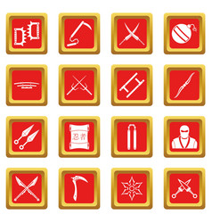 Ninja tools icons set red vector