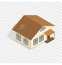One storey house with porch isometric icon vector