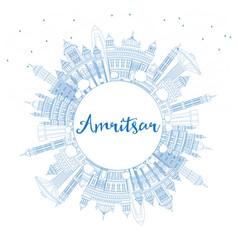 Outline amritsar india city skyline with blue vector