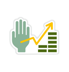 Paper sticker on white background hand financial vector