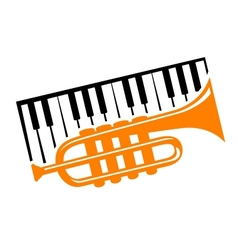 Piano and trumpet vector image vector image