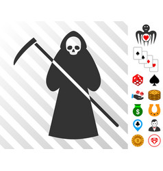 scytheman icon with bonus vector image vector image
