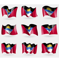 Set of Antigua and Barbuda flags in the air vector image