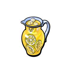 sketch cartoon lemonade glass jug isolated vector image vector image