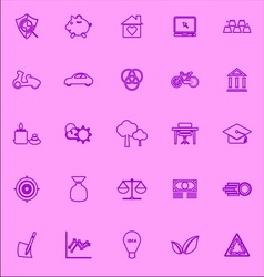 Sufficient economy violet line icons vector image vector image