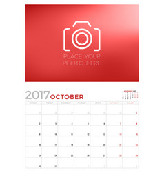 wall calendar planner template for october 2017 vector image vector image