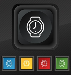 watches icon symbol Set of five colorful stylish vector image