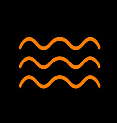 waves sign orange icon on black vector image