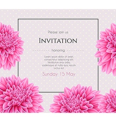 Wedding invitation with beautiful aster flower vector