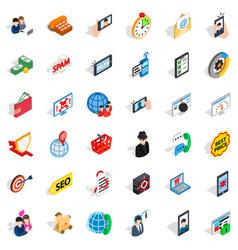 Wireless telecom icons set isometric style vector