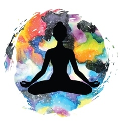 Women silhouette Yoga lotus pose Padmasana vector image