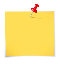 Yellow sticky notes and pin vector