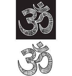 Hand drawn om symbol vector