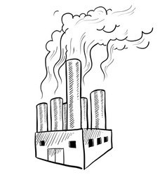 Doodle factory pollution vector