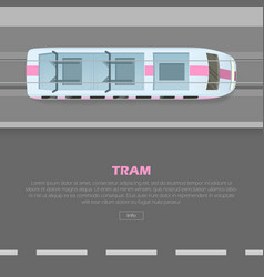 Tramway on road conceptual flat web banner vector