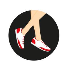 Sneakers on legs vector