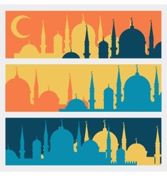 Horizontal banners with islamic mosques in flat vector
