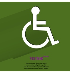Disabled flat modern web button with long shadow vector