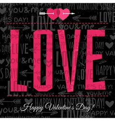 Valentines day greeting card with red wishes text vector